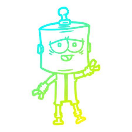 cold gradient line drawing of a cartoon robot Foto de archivo - 129815501