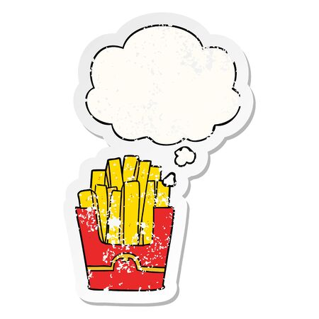 cartoon fries with thought bubble as a distressed worn sticker Banco de Imagens - 129810830