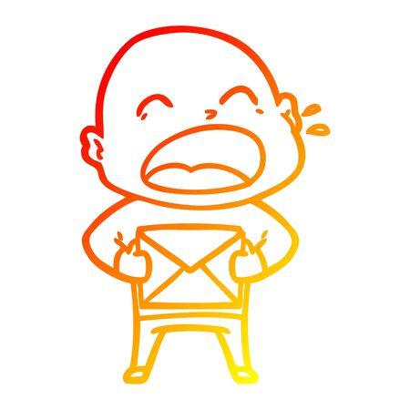 warm gradient line drawing of a cartoon shouting bald man Illusztráció
