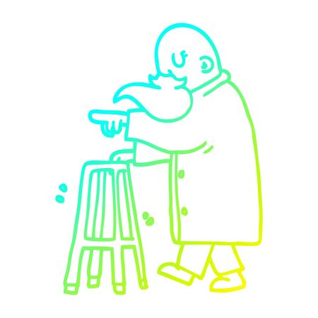 cold gradient line drawing of a cartoon old man pointing Illustration