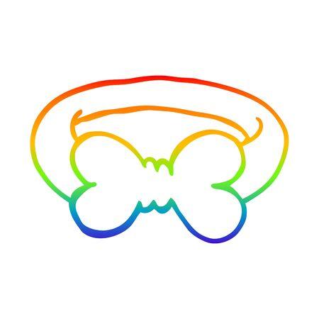 disegno a tratteggio sfumato arcobaleno di un papillon cartone animato Vettoriali
