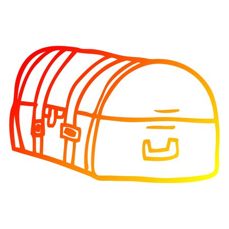 warm gradient line drawing of a cartoon travel chest Çizim