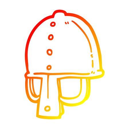 warm gradient line drawing of a cartoon medieval helmet