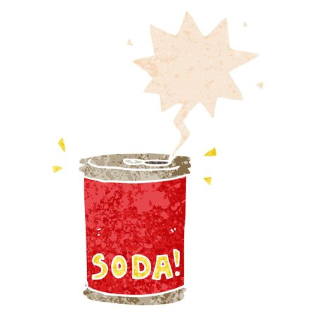 cartoon soda can with speech bubble in grunge distressed retro textured style