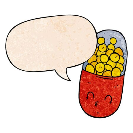 cartoon pill with speech bubble in retro texture style