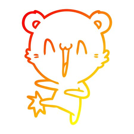 warm gradient line drawing of a happy bear kicking cartoon