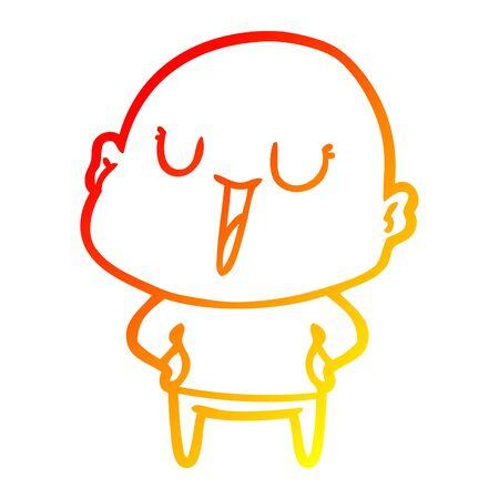 warm gradient line drawing of a happy cartoon bald man Reklamní fotografie - 129815681