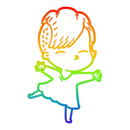 rainbow gradient line drawing of a cartoon squinting girl Ilustração