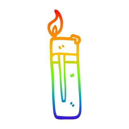 rainbow gradient line drawing of a cartoon disposable lighter 向量圖像