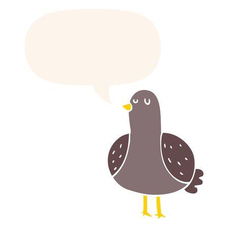 cartoon bird with speech bubble in retro style
