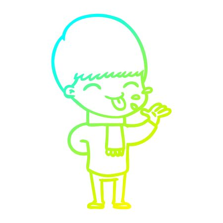 cold gradient line drawing of a cartoon boy sticking out tongue