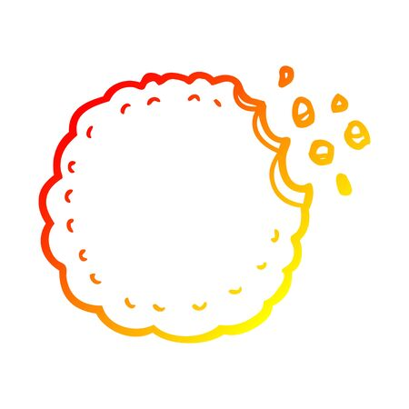 warm gradient line drawing of a cartoon cookie