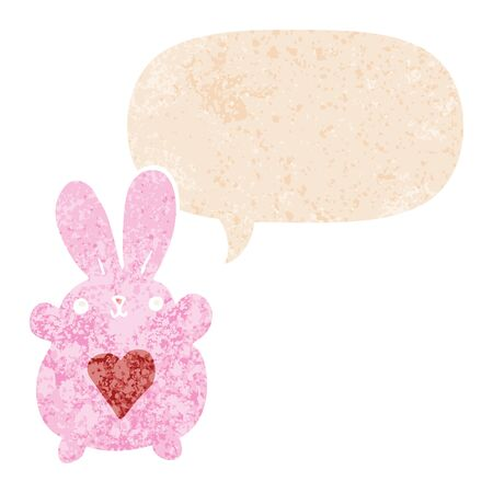 cute cartoon rabbit with love heart with speech bubble in grunge distressed retro textured style