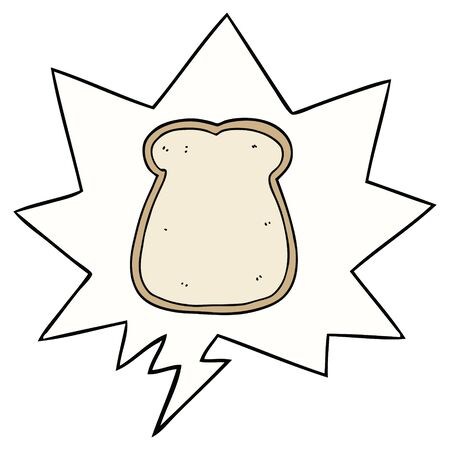 cartoon slice of bread with speech bubble  イラスト・ベクター素材