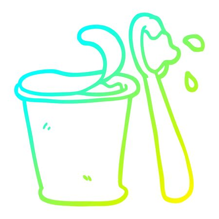 cold gradient line drawing of a cartoon yogurt