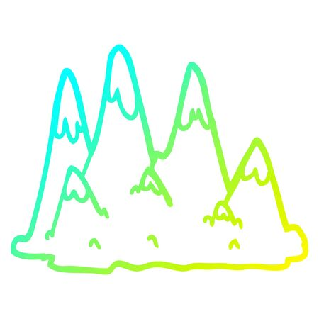 cold gradient line drawing of a cartoon mountains 일러스트