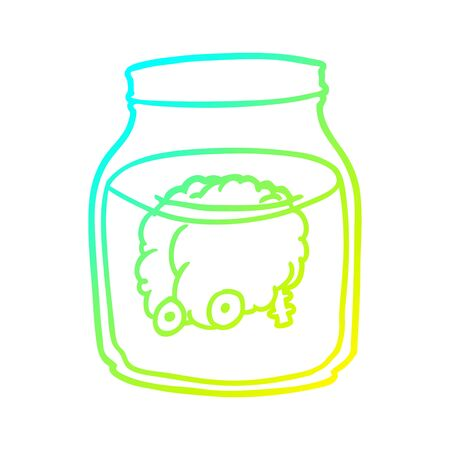 cold gradient line drawing of a spooky brain floating in jar