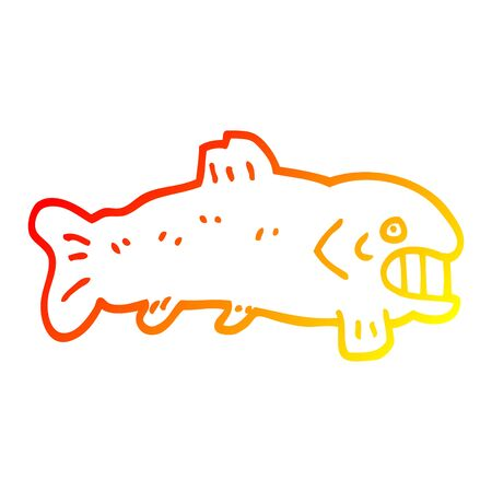 warm gradient line drawing of a cartoon large fish Banque d'images - 129815796