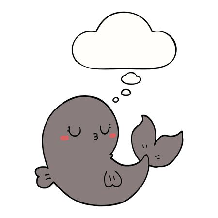 cute cartoon whale with thought bubble  イラスト・ベクター素材