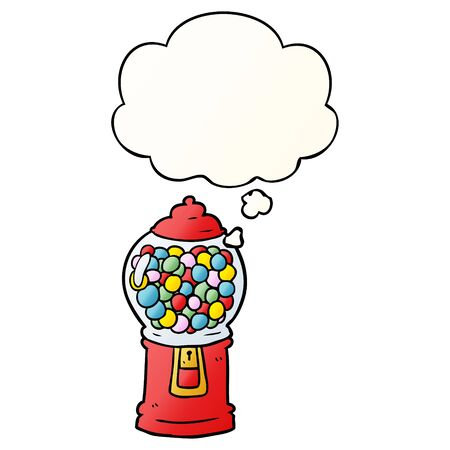 cartoon gumball machine with thought bubble in smooth gradient style