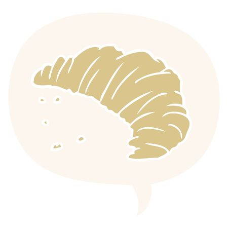 cartoon croissant with speech bubble in retro style