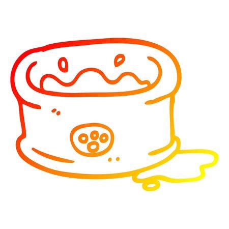 warm gradient line drawing of a cartoon pet bowl Stock Illustratie