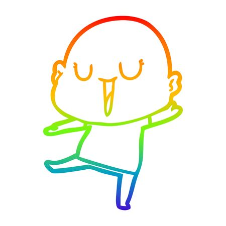 rainbow gradient line drawing of a happy cartoon bald man Reklamní fotografie - 129815835