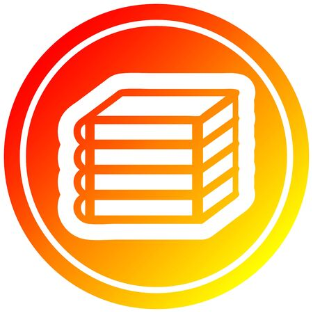 stack of books circular icon with warm gradient finish Illustration