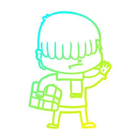cold gradient line drawing of a cartoon boy with untidy hair Zdjęcie Seryjne - 129815838
