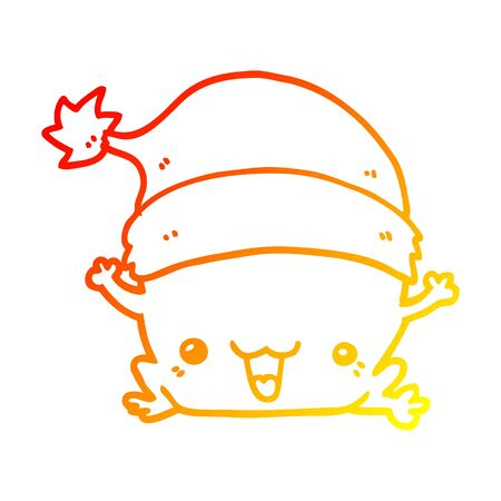 warm gradient line drawing of a cute cartoon christmas frog
