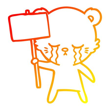 warm gradient line drawing of a crying cartoon bear with sign post Фото со стока - 129815729