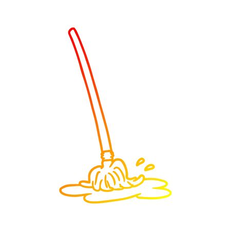 warm gradient line drawing of a wet cartoon mop
