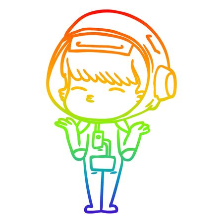 rainbow gradient line drawing of a cartoon curious astronaut