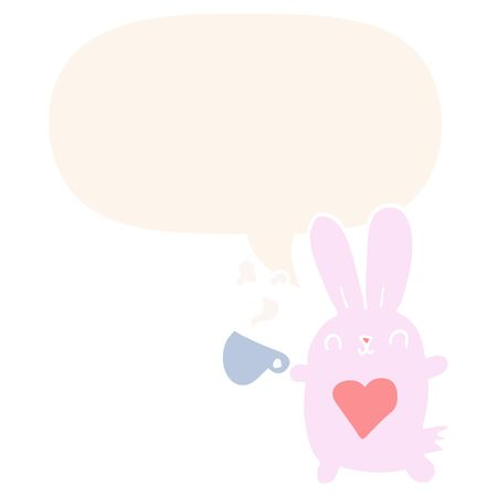 cute cartoon rabbit with love heart and coffee cup with speech bubble in retro style