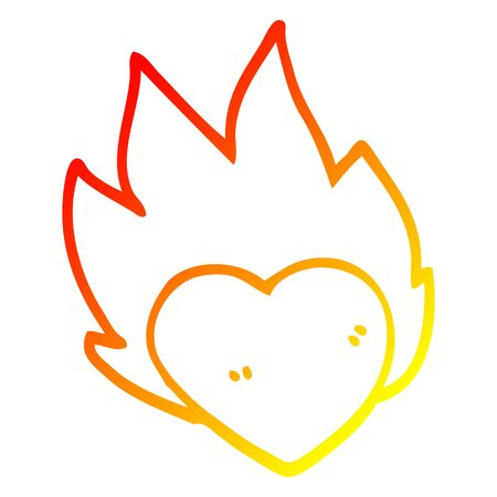 warm gradient line drawing of a cartoon flaming heart Ilustração
