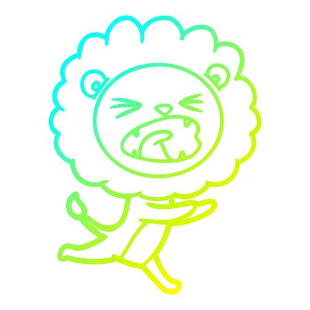 cold gradient line drawing of a cartoon running lion