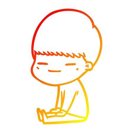 warm gradient line drawing of a cartoon smug boy sitting