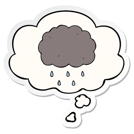 cartoon cloud raining with thought bubble as a printed sticker