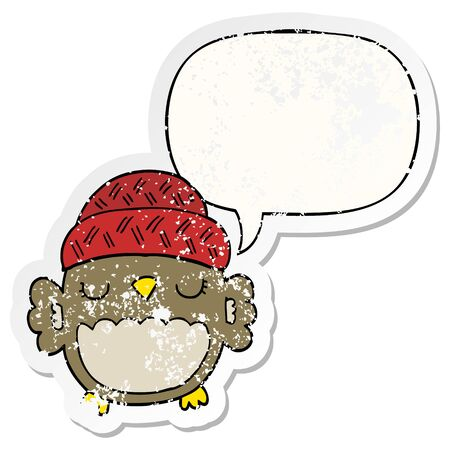 cute cartoon owl in hat with speech bubble distressed distressed old sticker