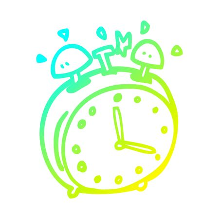cold gradient line drawing of a cartoon alram clock