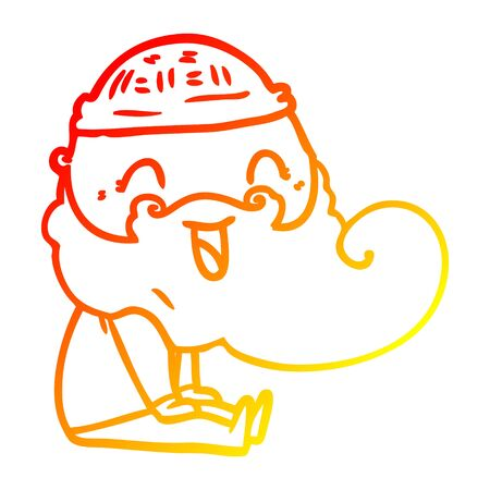 warm gradient line drawing of a happy bearded man sat down laughing