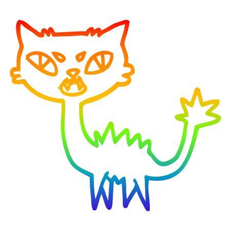 rainbow gradient line drawing of a cartoon halloween black cat Illustration