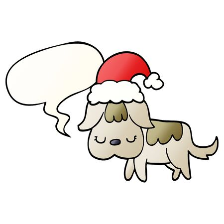 cute christmas dog with speech bubble in smooth gradient style