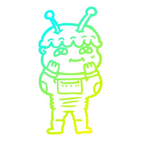 cold gradient line drawing of a surprised cartoon spaceman  イラスト・ベクター素材