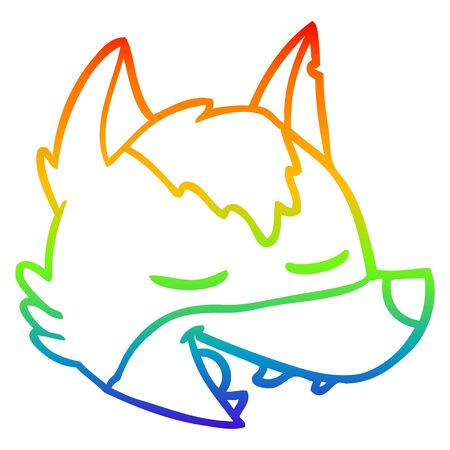 rainbow gradient line drawing of a cartoon wolf face