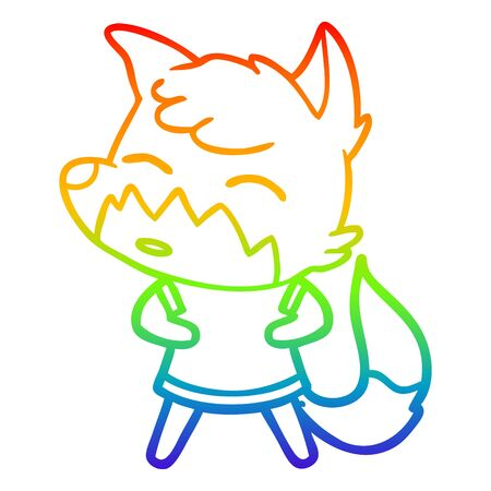 rainbow gradient line drawing of a cartoon fox Illustration