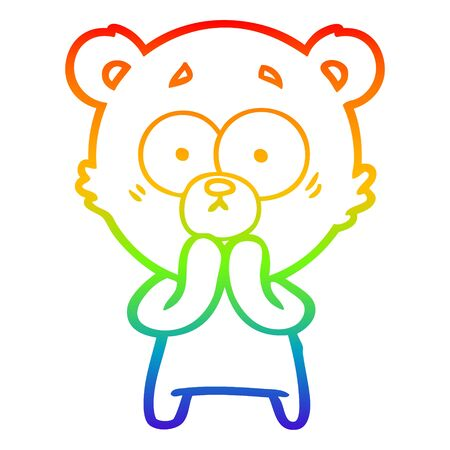 rainbow gradient line drawing of a worried bear cartoon