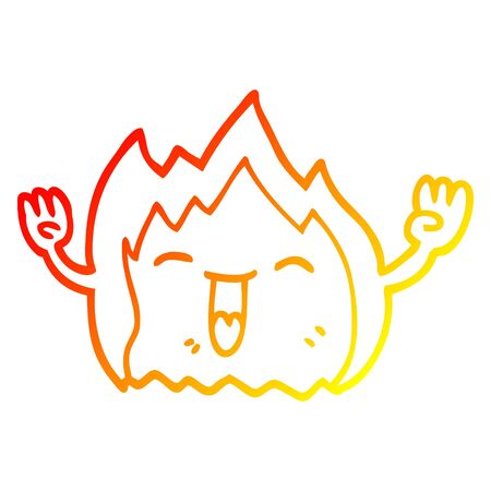 warm gradient line drawing of a cartoon happy gas flame Foto de archivo - 129815825