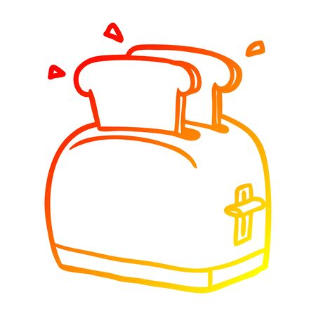 warm gradient line drawing of a toaster toasting bread 写真素材 - 129815827