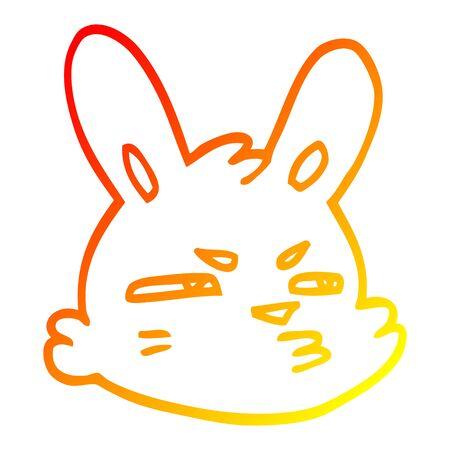 warm gradient line drawing of a cartoon moody rabbit